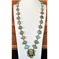 Cowgirl Kim Unique Green Turquoise Long Statement Necklace
