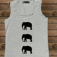 Women's Tank Elephant on a U Ladies Elephant Tank,Screen Printing Tank,Women's Tank,GrayTank,Size S, M, L
