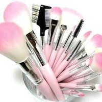 16 Piece Pink Synthetic Vegan Makeup Brush Set L.A. MInerals ®