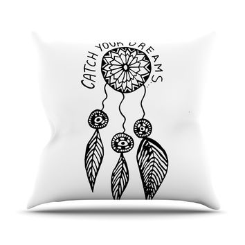"""Vasare Nar """"Catch Your Dreams"""" Typography Illustration Throw Pillow"""