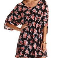 Ruched-Sleeve Floral Chiffon Dress by Charlotte Russe