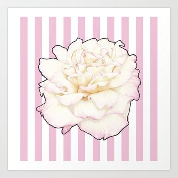 Pale Rose on Stripes Art Print by drawingsbylam