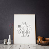 """Inspirational poster Motivational quote Wall artwork Typographic print Typographic art David Bowie """"The Stars Look Very Different Today"""""""