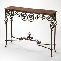 Algiers Traditional Rectangular Console Table Medium Brown