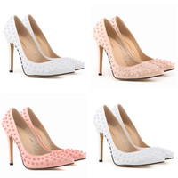 All-match Fashion Bright Lacquer Leather Rivet Shallow Mouth Pointed Shoes Heels Shoes