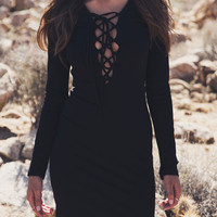 Plunge Neck Lace Up Front Long Sleeve Bodycon Mini Dress