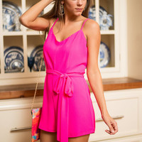 Perfectly Polished Romper, Hot Pink