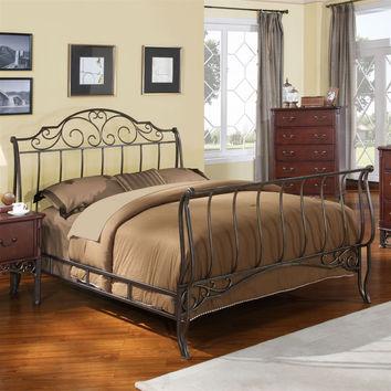 Full Size Metal Sleigh Bed in Antique Bronze Cast Iron with Headboard & Footboard