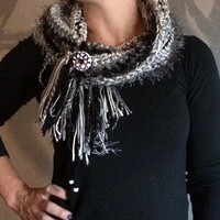 Crochet Scarf Cowl Gray Black White Fringe Accessory