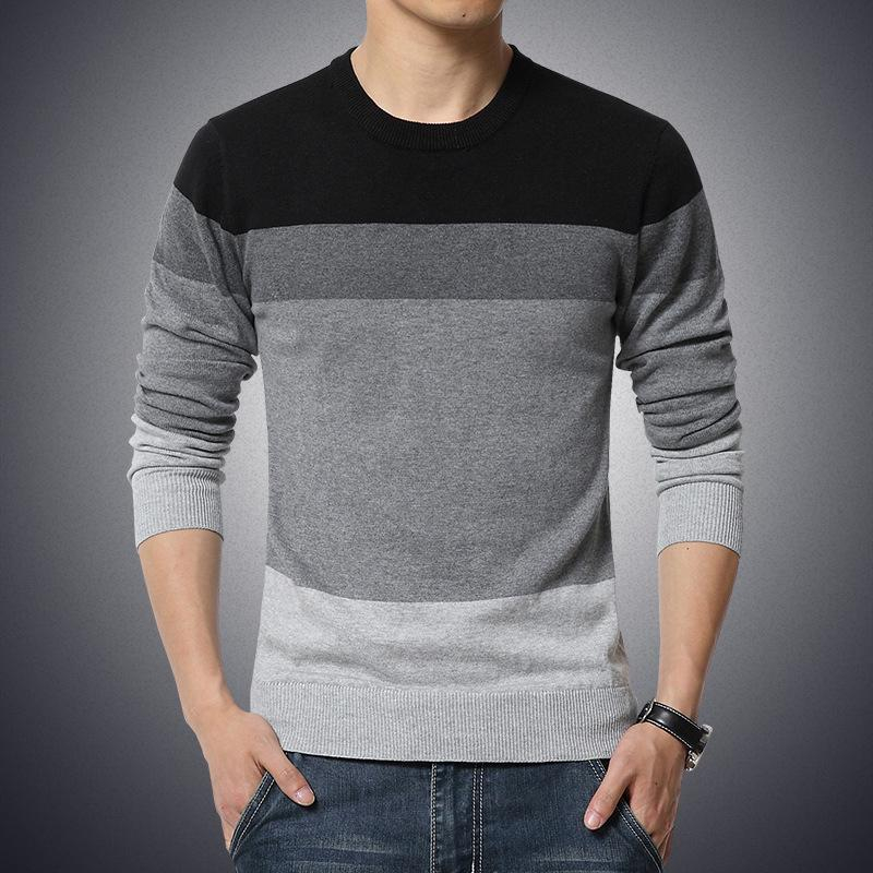 Image of Casual Men Sweater O-Neck Striped Slim Fit Knittwear Mens Sweaters Pullovers Pullover Men Homme