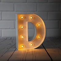 BLOWOUT White Marquee Light Letter 'D' LED Metal Sign (8 Inch, Battery Operated w/ Timer)