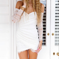 Long Sleeve Floral Cutout Lace Crochet Ruched Bodycon Mini Dress