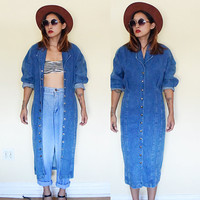 Vintage 90's denim coat dress button down maxi batwing sleeves