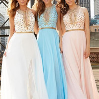 Madison James 15-154 Gold Studded Prom Dress Evening Gown SALE