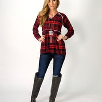 Tina Plaid Peasant Top with Tassels: Red