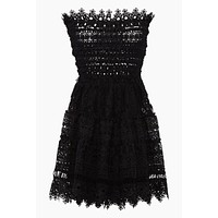 Vallarta Guipure Lace Strapless Mini Dress - Black