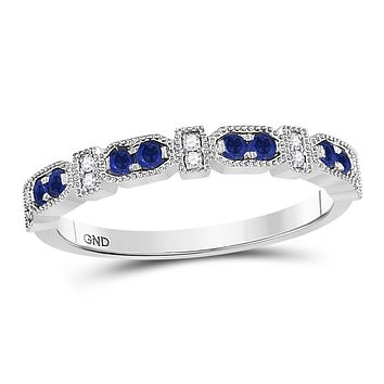 10k White Gold Round Blue Sapphire Diamond Stackable Band Ring 1/4 Cttw