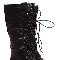 Quinn Calf Length Black Boots @ Cicihot Boots Catalog:women's winter boots,leather thigh high boots,black platform knee high boots,over the knee boots,Go Go boots,cowgirl boots,gladiator boots,womens dress boots,skirt boots.