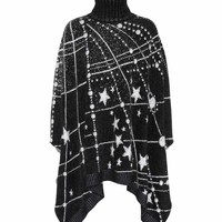 Constellation jacquard poncho