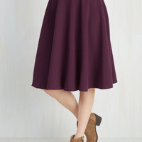 Long Full Bugle Joy Skirt in Plum