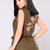 Tell Me You Love It Romper - Olive
