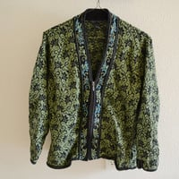 Green Zip Up Cardigan Oversized Vintage 90s XL