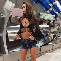 Summer Women T-shirt Polka Dots Gauze Perspective Long Sleeve Pagoda Sleeve  Crop Tops