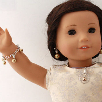 American Girl Doll 3 Piece Pearl Jewelry Set -  Contemporary Fashion Jewelry for 18 inch Dolls