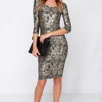 As I See Fit Black and Gold Bodycon Midi Dress