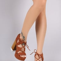 Qupid Strappy Woven Lace Up Chunky Platform Heel