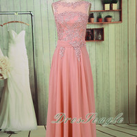 A line pink chiffon and tulle applique long bridesmaid dress, Chiffon pink jewel V back bridesmaid dress,Long chiffon applique prom dress