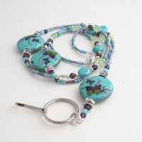 Beaded ID Badge Lanyard - Turquoise Blue Butterfly Design- Purple Green Blue Beads
