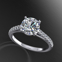 moissanite center  engagement ring, diamonds micro pave anniversary ring, style 148WDM