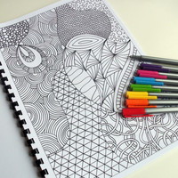Zentangle Inspired Coloring Book 12 Intricate Coloring by JoArtyJo