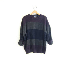 vintage dark green, blue and purple sweater. cotton knit pullover. basic sweater. oversized slouchy sweater