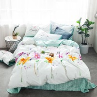 Cool Luxurious yellow flowers Bedding set plant 100% Cotton bed linen duvet cover pillowcase twin queen king Lovely girl bedclothesAT_93_12