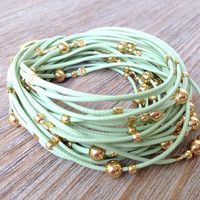 Green and Gold Cord Wrap Bracelet / Necklace