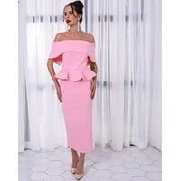 Explosion style women's new fake two-piece suit dress female lotus leaf banquet evening dress