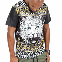 Chained Leopard Faux Leather Sleeve Shirt