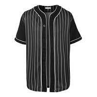 Mens Sports Striped Short Sleeve Button Down Baseball Jersey (CLEARANCE)