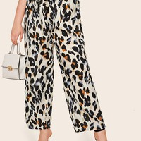 Plus Size Size White Leopard Print Belted Pants