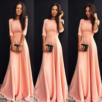 Fashion Round Neck Solid color Long Dress