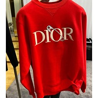 DIOR Crew neck sweater red for men and women