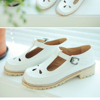 Punched T-Buckle Shoes