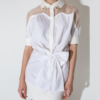 Short Sleeve Pointed Flat Collar Bow Tie Waist Mini Dress with Mesh Accent