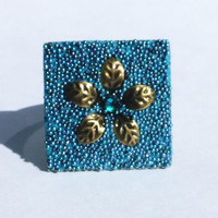 Blue Teal Crystal Clay Adjustable Ring with Teal Micro Beads and Metal Flower Middle with Teal Swarovski Crystal
