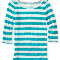 Sheer 3/4 Sleeve Striped Tee
