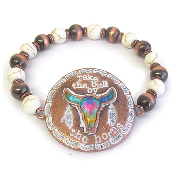 Western Take the Bull by the Horns Engraved Stretch Bracelet
