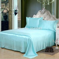 Luxury Smooth Soft Silky Lustre Home Hotel Satin Twin/Full/Queen/King Size Flat Sheet Bed Cover Solid Color Light Blue