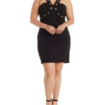 Plus Size Black Grommet-Embellished Bodycon Dress by Charlotte Russe